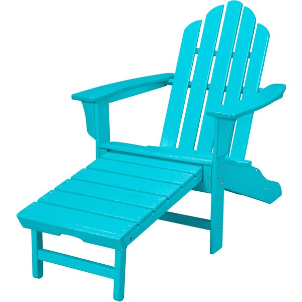Galaz All-Weather Contoured Plastic Adirondack Chair with Ottoman by August Grove