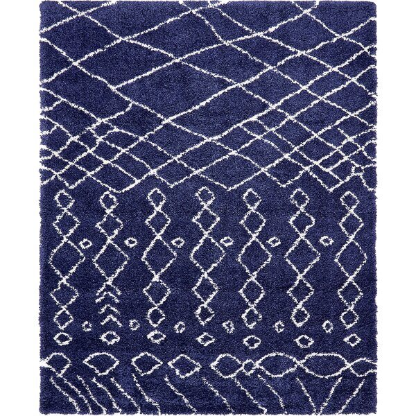 Bourne Machine woven Navy Blue Area Rug by Bungalow Rose