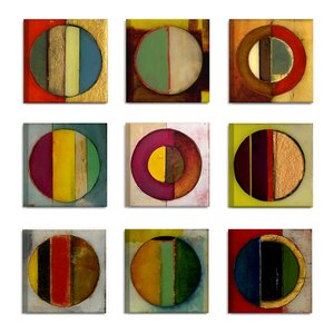 'Textured Circles Green and Red' 9 Piece Canvas Wall Art Set by Latitude Run