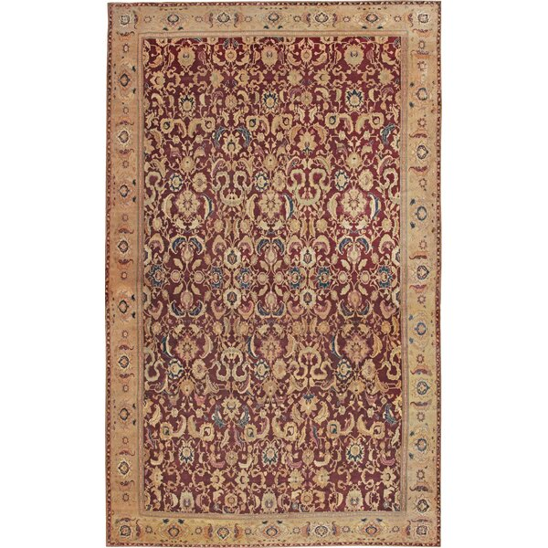 One-of-a-Kind Agra Hand-Knotted Red 16'6 x 27'3 Wool Area Rug