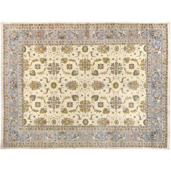 Xenos Hand-Knotted Rectangle Wool Gold/Blue Area Rug by Astoria Grand