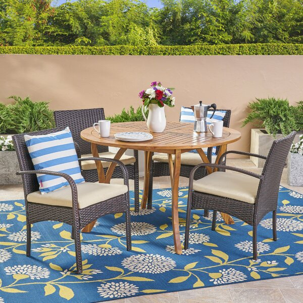 Briella 5 Piece Teak Dining Set with Cushions by Highland Dunes