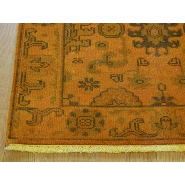 One-of-a-Kind Bearer Overdyed Handwoven Orange Wool Area Rug by Isabelline
