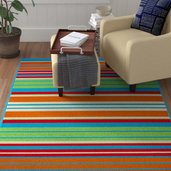 Greenbaum Stripe Turquoise Indoor/Outdoor Area Rug by Winston Porter