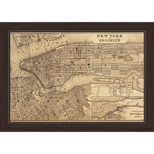 'Map Of New York And Brooklyn' Framed Graphic Art by Trent Austin Design