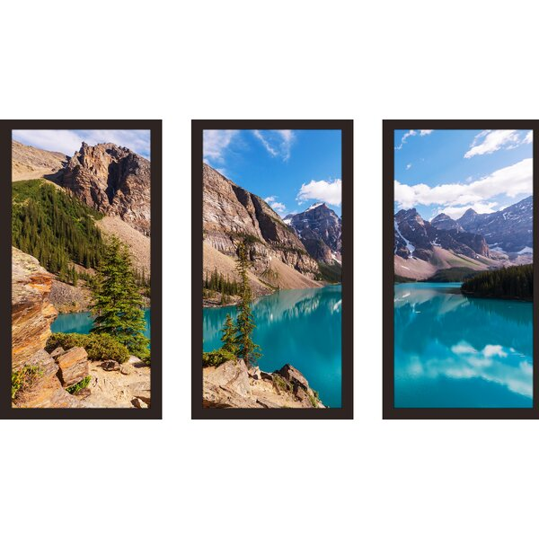 Moraine lake in Banff National park 3 Piece Framed Photographic Print Set by Picture Perfect International