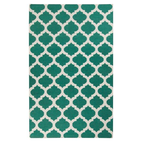 Hackbarth Hand-Woven Green/ White Area Rug by Zoomie Kids