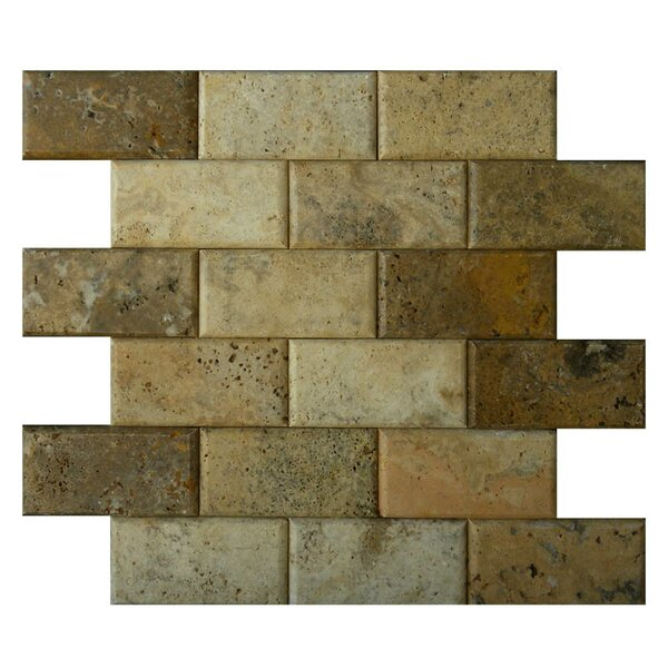 Pillow Edge 2 x 4 Natural Stone Mosaic Tile in Fantastico by QDI Surfaces