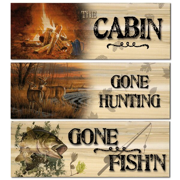 Gone Fishin-Bass/Gone Hunting-Daybreak/The Cabin-Evening Campfire 3 Piece Graphic Art Plaque Set by WGI-GALLERY