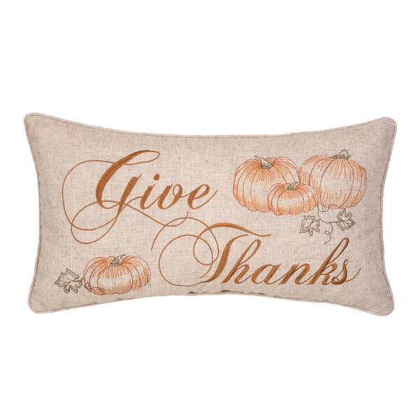 Connell Give Thanks Lumbar Pillow by The Holiday Aisle