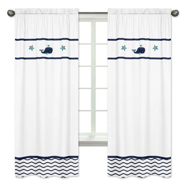 Whale Nautical Semi-Opaque Rod Pocket Curtain Panels (Set of 2) by Sweet Jojo Designs