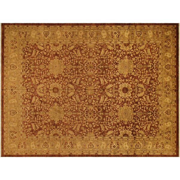 Badham Hand-Knotted Rectangle Wool Rust Area Rug by Bloomsbury Market