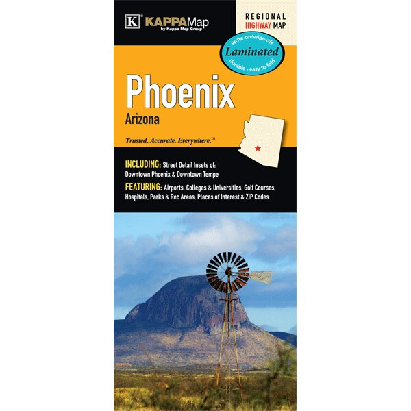 Phoenix Arizona Laminated Map by Universal Map