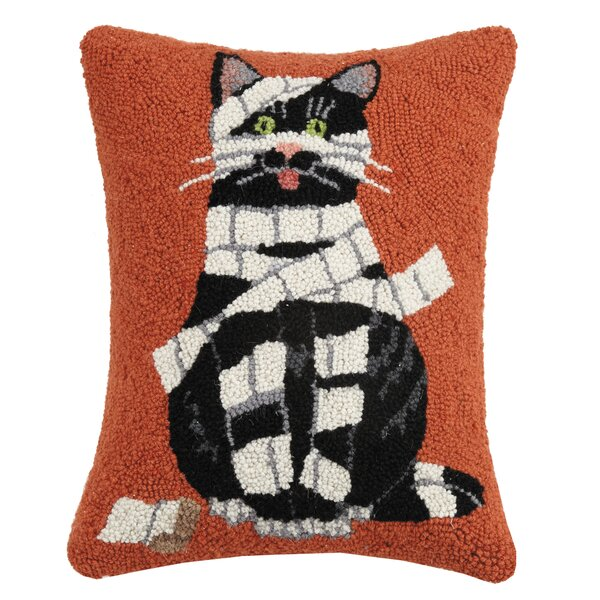 Mcgonigal Wrapped Mummy Cat Hook Wool Lumbar Pillow by The Holiday Aisle