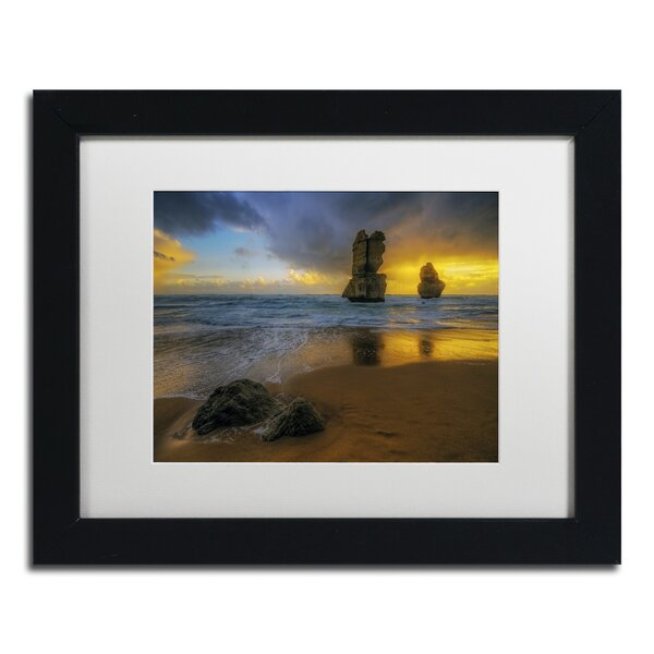 Beach at Sunset by Lincoln Harrison Framed Photographic Print in White Mat by Trademark Fine Art