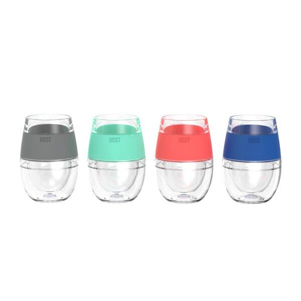 Freeze 4-Piece 9 oz. Plastic Double Wall Glass Set (Set of 4) by HOST