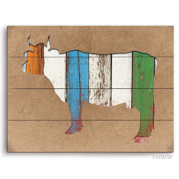 Colored Wood Textured Cow Painting Print by Click Wall Art