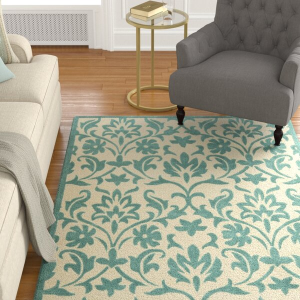 Amagansett Ivory/Light Blue Rug by Charlton Home