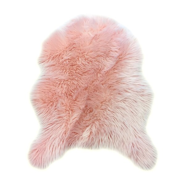 Merriam Novelty Faux Fur Pink Area Rug by House of Hampton