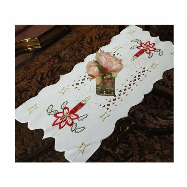 Seasonal Candles Vintage Holiday Embroidered Placemat by Violet Linen