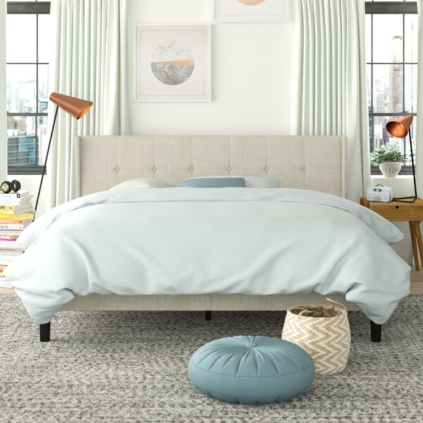 Barronr Button Tufted Wingback Upholstered Platform Bed by Trule Trule