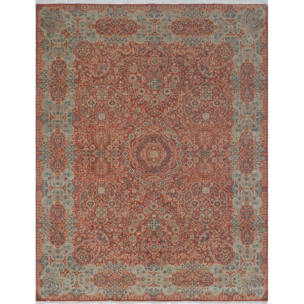 Blanca Hand Knotted Wool Rust Area Rug by Bloomsbury Market