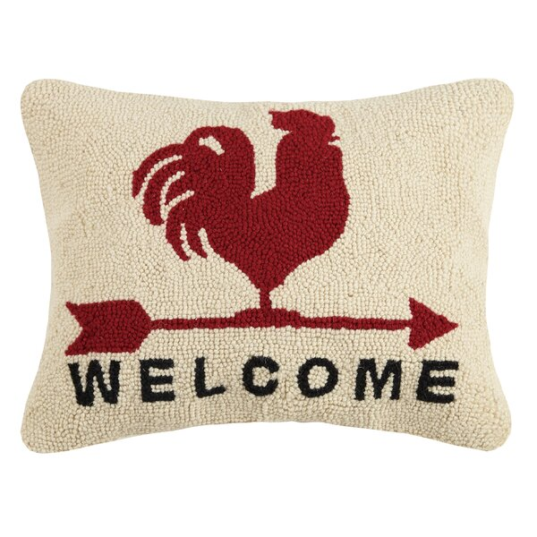 Gannon Rooster Welcome Wool Throw Pillow by August Grove