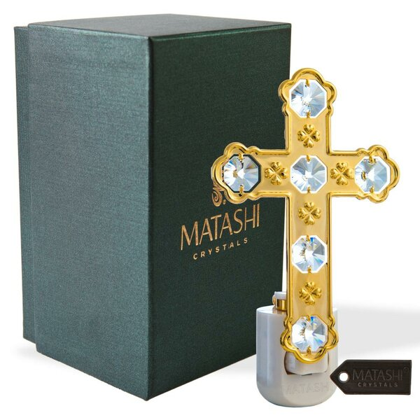 24K Gold Plated Crystal Studded Cross LED Night Light by Matashi Crystal