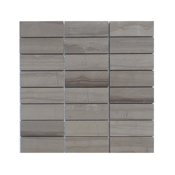 Stacked Honed Natural Stone Mosaic Tile in Athens Gray by Mulia Tile