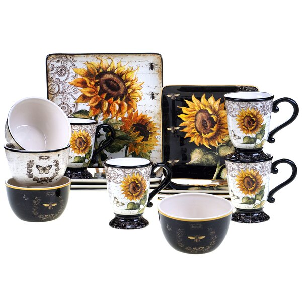 French Sunflower 16 Piece Dinnerware Set, Service for 4 by Certified International