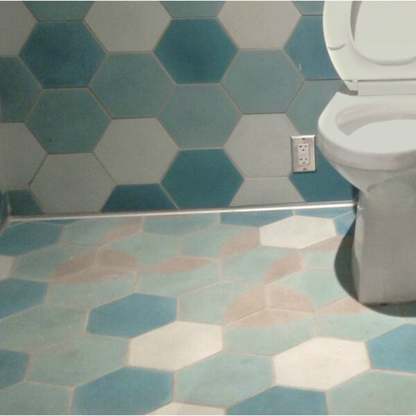 Solid Mixed Hex 8 x 8 Cement Field Tile in Blue by Villa Lagoon Tile