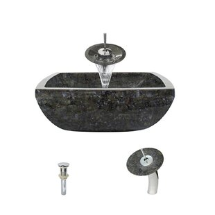 Compare prices Butterfly Stone Square Vessel Bathroom Sink with Faucet By MR Direct