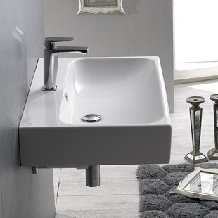 Great choice Pinto Ceramic 7 Wall Mount Bathroom Sink with Overflow By CeraStyle by Nameeks
