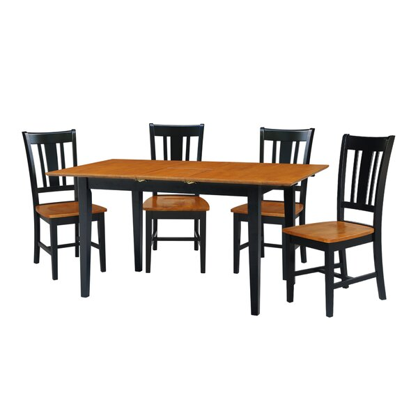 Kelm 5 Piece Extension Drop Leaf Solid Wood Dining Set by Alcott Hill