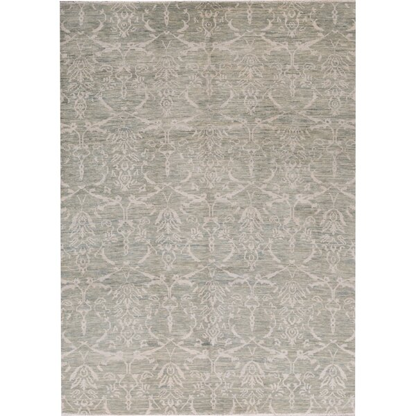 South Sea Oriental Hand-Knotted Wool Light Green Area Rug