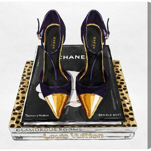 Italian Shoes and Glam Books Graphic Art on Wrapped Canvas by House of Hampton