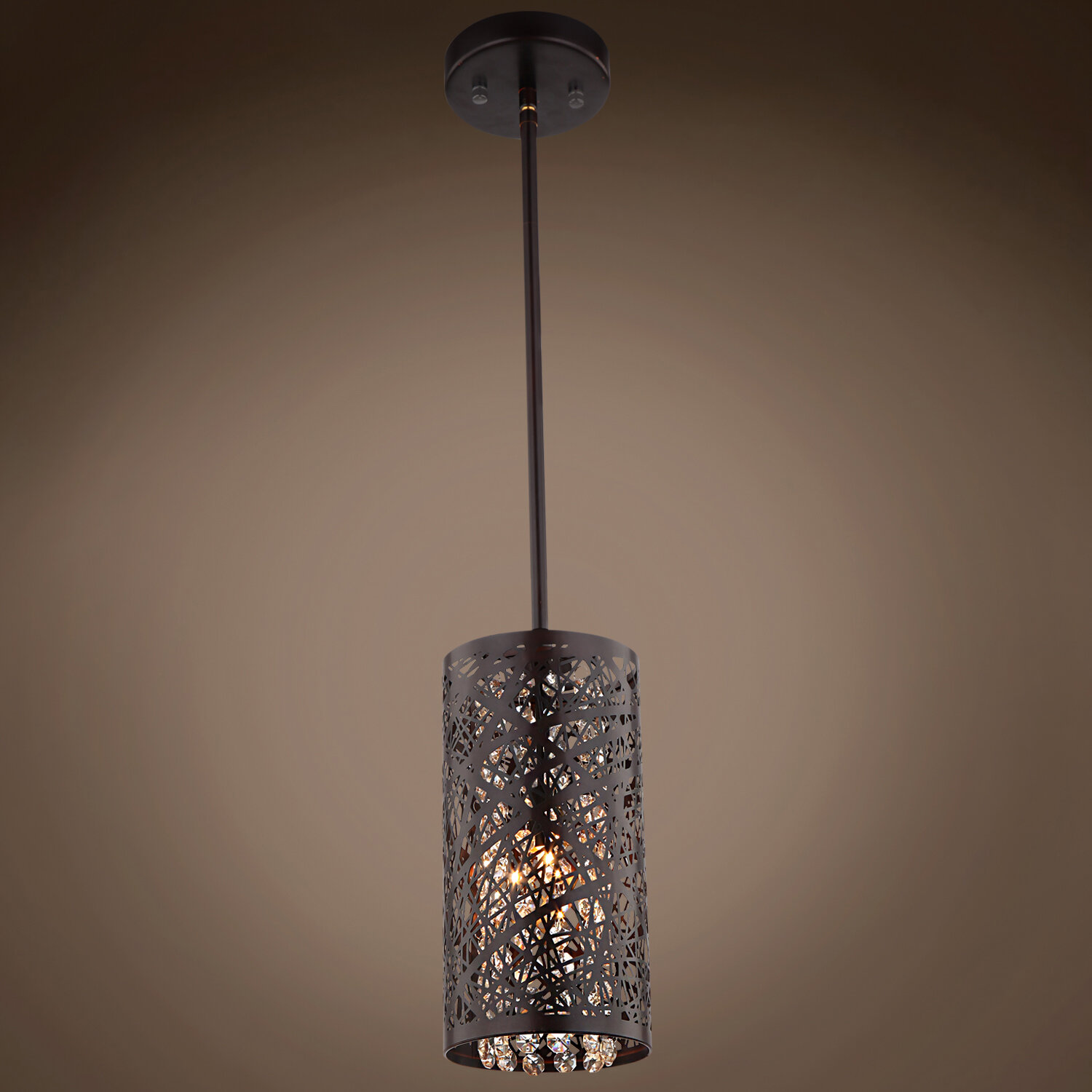 Mercer41 Hodder 1 Light Single Cylinder Pendant With Crystal Accents Wayfair