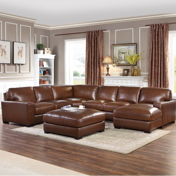 Gartner Symmetrical Leather Symmetrical Modular Sectional With Ottoman