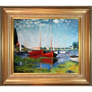 Red Boats at Argenteuil by Claude Monet Framed Painting Print by Tori Home