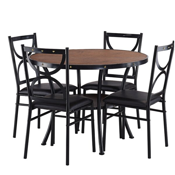 Caran Modern Round 5 Pieces Dining Set by Red Barrel Studio