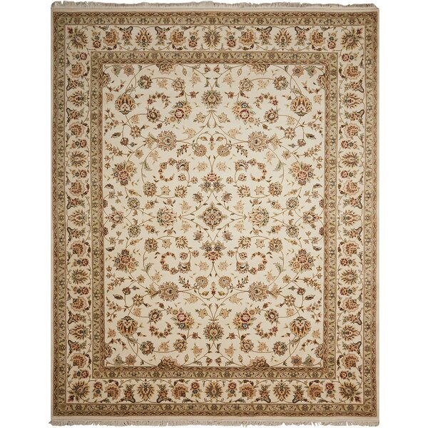 Dunluce Hand-Knotted Wool Ivory/Beige  Area Rug by Canora Grey