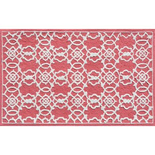 Hand-Hooked Coral/White Area Rug ByThe Conestoga Trading Co.