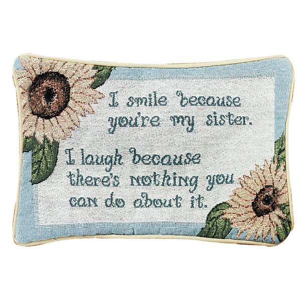 I Smile Because Word Lumbar Pillow by Manual Woodworkers & Weavers
