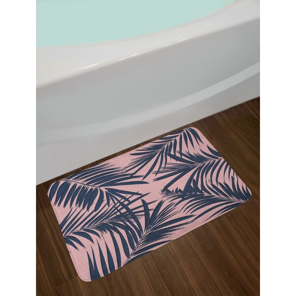 Summer Navy and Blush Bath Rug by East Urban Home