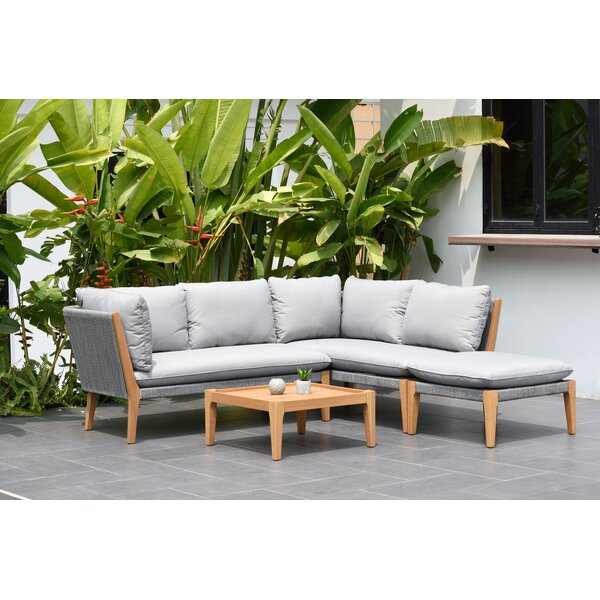 Olinda 4 Piece Teak Sectional Seating Group with Cushions by Wrought Studio
