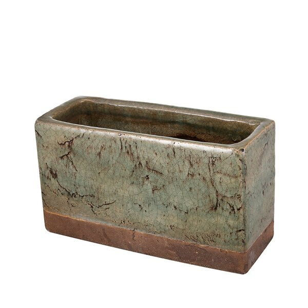 Chatteris Rectangular Textured Pot Ceramic Planter by Fleur De Lis Living