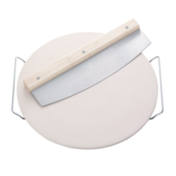 Round Ceramic Pizza Stone with Carrying Tray and Slicer by LEIFHEIT