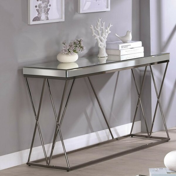 Review Keenan Modern Mirrored Console Table
