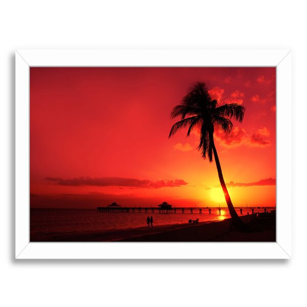 Romantic Sunset Framed Photographic Print by East Urban Home