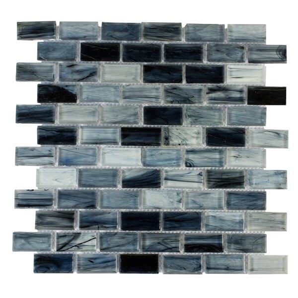 Contemporeano 1 x 1.85 Glass Mosaic Tile in Dark Blue by Byzantin Mosaic